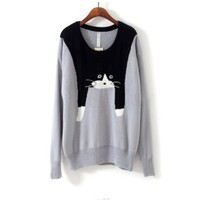 Light Grey Long Sleeve Round Neck Cat Face Sweater