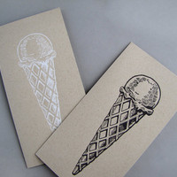 Ice Cream Letterpress Cards, pair of Chocolate and Vanilla card SPECIAL SUMMER EDITION
