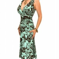 Blue Banana - Turquoise and Brown Floral V Neck Dress US Size 10