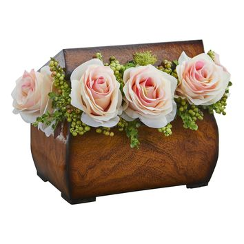 Artificial Flowers -Roses Light Pink Arrangement in Decorative Chest