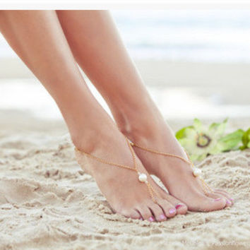 Sexy Ladies Shiny New Arrival Cute Jewelry Gift Hot Sale Summer Stylish Double-layered Pearls Chain Anklet [6768766215]