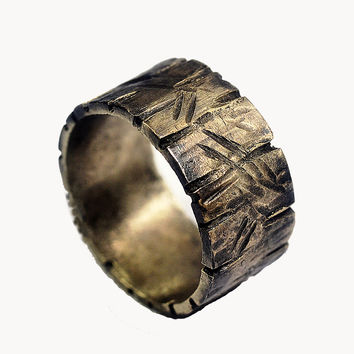 Custom Distressed Silver Ring- Unisex, Non-Traditional Silver Wedding Ring - 3/8' Silver Ring Band, Darkened Silver, Rustic