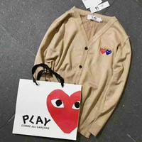 Comme Des Garcons Play Hot Sale Men Women Couple Long Sleeve Tee Shirt sweater Coat Khaki I-A-XYCL
