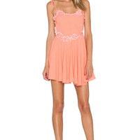 For Love & Lemons Sahara Mini Dress in Peach Nectar