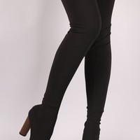 Elastane Fitted Pointy Toe Over-The-Knee Boots