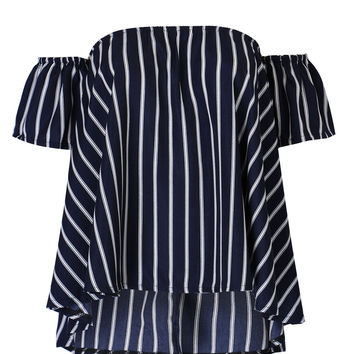 Navy Stripe Off Shoulder Blouse