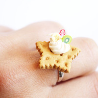 Fruit and Cream Ring - Cute Polymer Clay Miniature