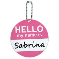 Sabrina Hello My Name Is Round ID Card Luggage Tag