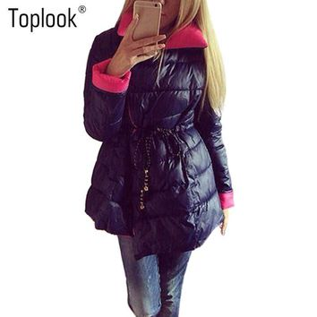 Toplook Cotton Hooded Lace Up Padded Jacket 2016 Quality Lpng Winter Casual Blue Plus Size Parka Women Coat Slim Wadded Outwear