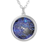 Silver Blue Swirl Abstract Silver Plated Necklace