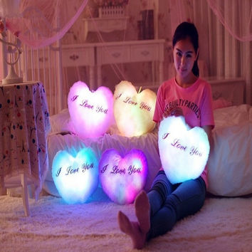 Hot Colorful Heart Luminous Pillow LED Light Cushion Plush Decorative Pillow Kids Toys Christmas Toys Valentine's Day Gifts = 1705607108