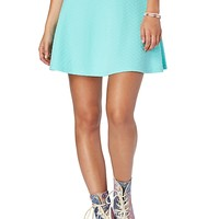Solid Quilted Zip Back Skater Skirt