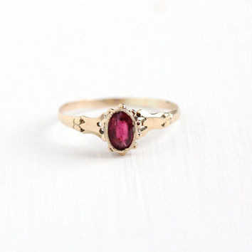 Antique Victorian 10k Rosy Yellow Gold Garnet Doublet Ring - 1890s Size 6 3/4 Oval Red Garnet Glass Doublet Studded Dainty Fine Jewelry