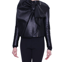 Viktor E Rolf Leather jacket with maxi ribbon | Lindelepalais.com 18894