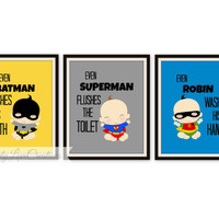 "Superhero Bathroom Prints - Set of 3 Prints - ""Even Batman Brushes His Teeth"" Comic Book Print // Pop Art Print // SuperBaby Bathroom Print"