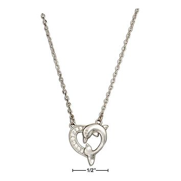"""STERLING SILVER 16""""-18"""" ADJUSTABLE CUBIC ZIRCONIA HEART DOLPHIN NECKLACE"""