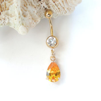 Lemon Orange Citrine Teardrop Belly Ring, Belly Button Jewelry, 14g 14 Gauge Barbell, Small Navel Ring, Gold Belly Ring, Gift Idea. 924