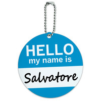 Salvatore Hello My Name Is Round ID Card Luggage Tag