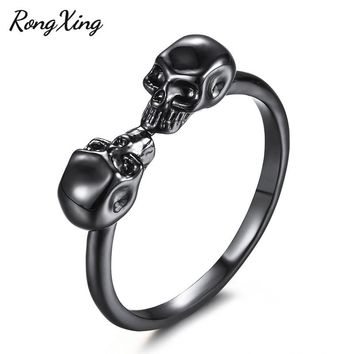 RongXing Gothic Double Skull Finger Ring Black Gold Filled Skeleton Charm Punk Rings For Women Men Halloween Jewelry Party Gifts