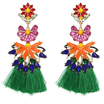 Statement Green Floral Earrings with Long Tassels