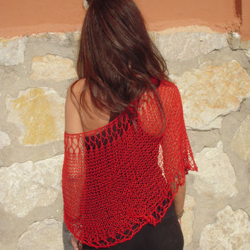 Hand knit poncho. Knitted capelet. bamboo knit. Red passion knit. Loose knit. Lace poncho, summer wear