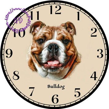 """Brown & White Bulldog Art - -DIY Digital Collage - 12.5"""" DIA for 12"""" Clock Face Art - Crafts Projects"""