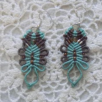 Brown and Turquoise Macrame Earrings