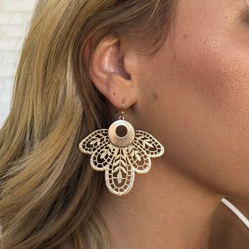 Charm Laser Cut Gold Earrings