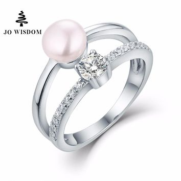 JO WISDOM Fine Jewelry 100% 925 Silver Ring for Women Wedding Ring with Freshwater Pearl  for Wedding Decorations