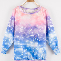 Star Print Tie-dye Long Sleeve Sweatshirt