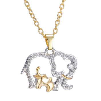 Hot Alloy Jewelry for mother gift Plated Gold Silver Crystal Mothers Day necklace Elephant with Baby Pendant Animal Necklaces