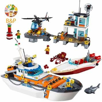 lepin Legoing 60167 854pcs CITY Series Coast Guard Head Quarters Ship Helicopter Boat Building Blocks Toys For Children 02081
