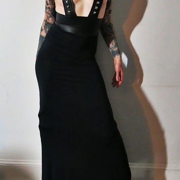 Hell Couture Studded Suspender Harness Maxi Dress