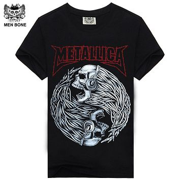 [Men bone] Tee Men T Shirt Black T-Shirt 100% Cotton Skull Print Heavy Metal Rock Hip Hop Clothing Black Metallica