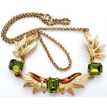 Vintage Gold Filled Necklace with Green Stones Van Dell