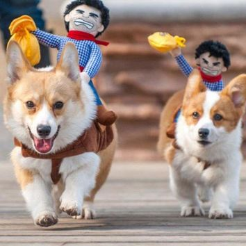 ONETOW Hot Sale Riding Horse Dog Costume Novelty Funny Party Pet Dog Costume Large Dog Clothes Cowboy Monkey Dog Clothing S-XL Q5288