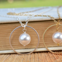 Bridesmaids Gift, Single Pearl Necklace 10mm in silver, Floating pearl necklace, Bridesmaids gift, White pearl necklace, Wedding