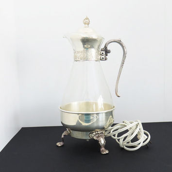 Vintage Sheridan silverplate coffee / tea warmer pot glass carafe - Electric coffee carafe - Mid Century servingware