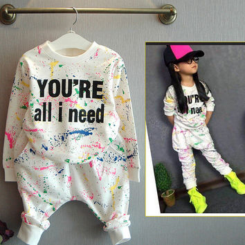 2PCS tops+pants Toddler girl clothing