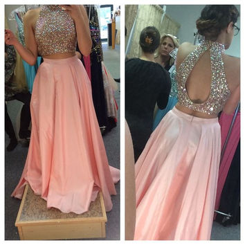 2 Piece Prom Dresses Long 2017 Sexy Beading Satin Prom Gowns A-Line Evening Dress Off The Shoulder Vestido De Gala
