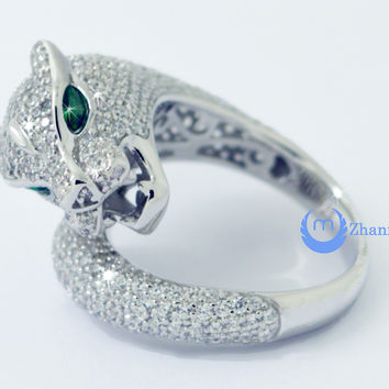 Panther Leopard Ring Green Eyes Fashion Ring Signity CZ Rhodium Sterling Silver