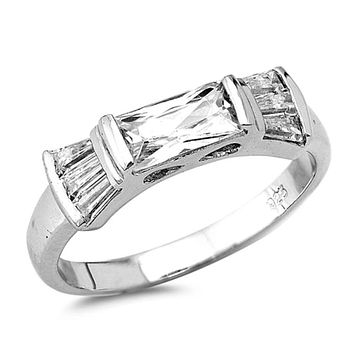 Sterling Silver East West Set Emerald Cut White Cubic Zirconia with Tapered Baguette Ring