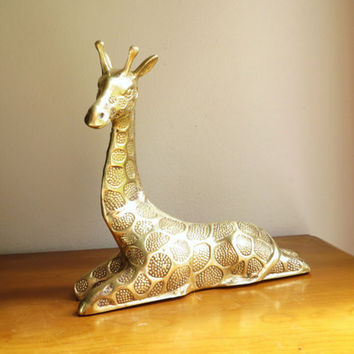 Vintage Brass Giraffe Figurine, Gold Giraffe Statue, Brass African Animal Sculpture, Large