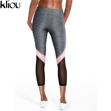 Kliou 2017 Women Casual Leggings Fitness summer Leggings New Arrival Ladies Plain Elastic Waist patchwork  Mesh Insert Leggings