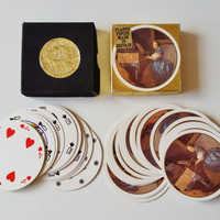 Round playing cards, Waddingtons Rondo Pack of Cards, Circular Deck with Picture of Lady Seated at a Virginal' by Vermeer, Plastic Finish