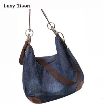 2016 Denim Handbags Large Women Bag Big Hobo Purses Ladies Hand bags Jean Shopper Tote Luxury Designer Crossbody Messenger Bag