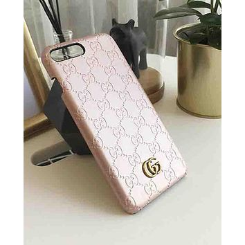Gucci Popular Women Men Contracted Letter Pattern Leather iPhone Phone Cover Case For iphone 6 6s 6plus 6s-plus 7 7plus iphone X Rose Gold