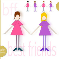 best friends clip art girls - instant download - best friend png - commercial use allowed - bff - friendship clip art - girl - pink - purple