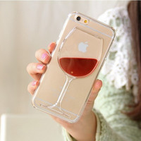 New Hot Sale Luxury  iquid Quicksand Red Wine Clear Transparent Phone Case hard back Cover for iPhone 4 4S Free shipping