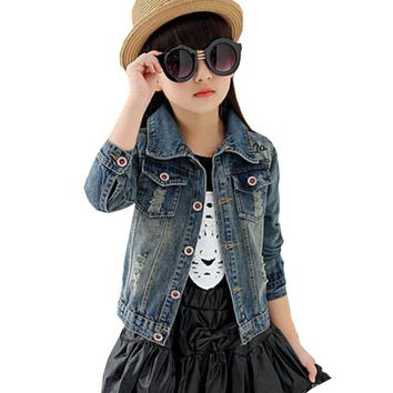 Children's Jacket Denim 2017 Girl Boy Jean Jackets Kids clothing coat Casual outerwear